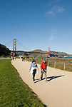 San Francisco, California, Walking Crissy Field east of the Golden Gate Bridge along the Golden Gate Promenade.  Photo copyright Lee Foster.  Photo # 1-casanf76372.