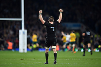 Richie McCaw of New Zealand celebrates a late try to seal the match for his team. Rugby World Cup Final between New Zealand and Australia on October 31, 2015 at Twickenham Stadium in London, England. Photo by: Patrick Khachfe / Onside Images