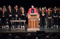President Jonathan Veitch welcomes first-years. 508 members of the Class of 2020 are welcomed to Occidental College by trustees, faculty and staff in Thorne Hall on Aug. 30, 2016 during Oxy's 129th Convocation ceremony, a tradition that formally marks the start of the academic year and welcomes the new class.<br /> (Photo by Marc Campos, Occidental College Photographer)