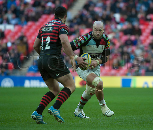 22.03.2014.  London, England.  Harlequins' George Robson in action during the Aviva Premiership Rugby match between Saracens and Harlequins at Wembley Stadium