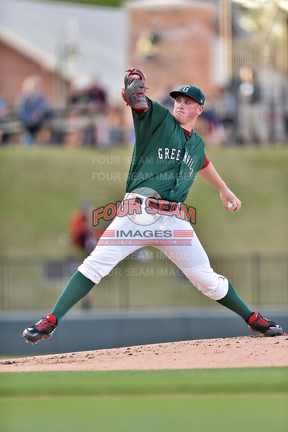 Greenville Drive starting pitcher Jay Groome (28) delivers a pitch during a game against the Lexington Legends at Fluor Field at West End on April 10, 2017 in Greenville, South Carolina. The Legends defeated the Drive 12-4 (Tony Farlow/Four Seam Images)