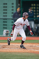 Brendon Hayden (34) of the Virginia Tech Hokies starts down the first base line during the game against the Toledo Rockets at The Ripken Experience on February 28, 2015 in Myrtle Beach, South Carolina.  The Hokies defeated the Rockets 1-0 in 10 innings.  (Brian Westerholt/Four Seam Images)