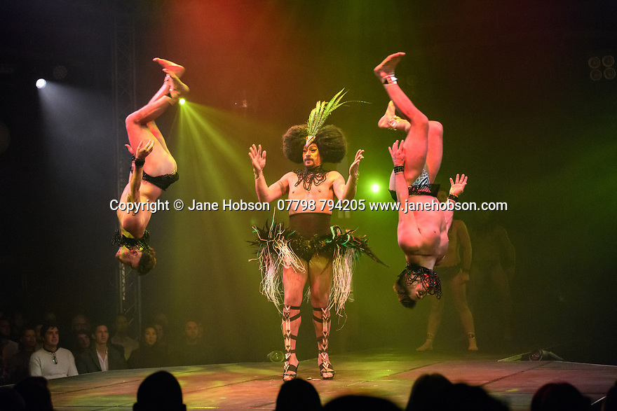 London, UK. 09.11.2018. Underbelly and Briefs Factory presents BRIEFS: CLOSE ENCOUNTERS, as part of the Christmas in Leicester Square season, in a spiegeltent in Leicester Square itself. The production is directed by Fez Fa'anana, with lighting design by Paul Lim, and costume design by Dallas Dellaforce. The cast includes: Fez Fa'anana (Host), Captain Kidd, Thomas Worrell, Louis Biggs, Harry Clayton-Wright, Dale Woodbridge-Brown, Brett Rosengreeen.  The production runs from November 9th 2018 to Jan 3rd 2019. Photograph © Jane Hobson.