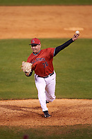 Ball State Cardinals relief pitcher Matt Haro (26) delivers a pitch during a game against the Wisconsin-Milwaukee Panthers on February 26, 2016 at Chain of Lakes Stadium in Winter Haven, Florida.  Ball State defeated Wisconsin-Milwaukee 11-5.  (Mike Janes/Four Seam Images)