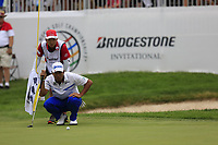 Hideki Matsuyama (JPN) lines up his birdie putt on the 18th green during Sunday's Final Round of the WGC Bridgestone Invitational 2017 held at Firestone Country Club, Akron, USA. 6th August 2017.<br /> Picture: Eoin Clarke | Golffile<br /> <br /> <br /> All photos usage must carry mandatory copyright credit (&copy; Golffile | Eoin Clarke)
