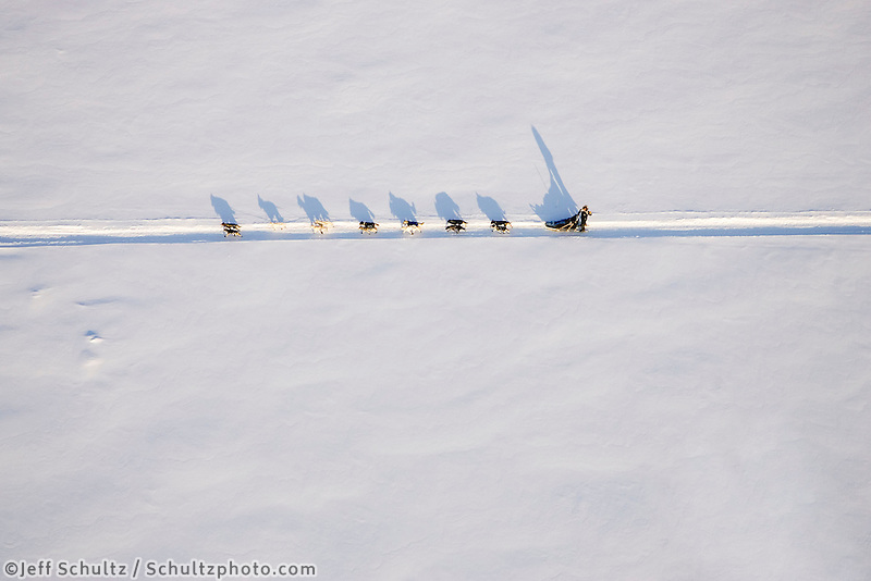 Aerial of sled dog team running on Yukon River from Nikolai to McGrath 2006 Iditarod Western Alaska