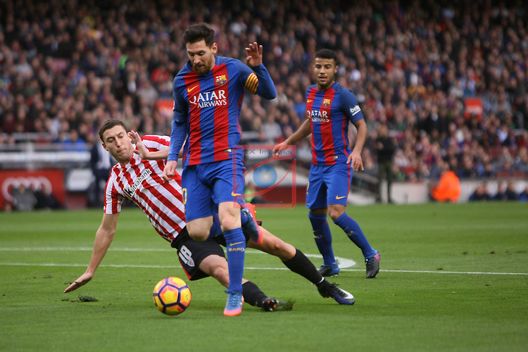 League Santander 2016/2017. Game: 21.<br /> FC Barcelona vs Athletic Club: 3-0.<br /> De Marcos vs Lionel Messi.