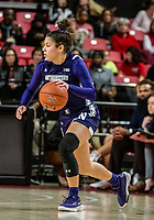 COLLEGE PARK, MD - JANUARY 26: Veronica Burton #12 of Northwestern on the attack during a game between Northwestern and Maryland at Xfinity Center on January 26, 2020 in College Park, Maryland.