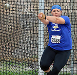 SIOUX FALLS, SD - MAY 2:  Shelby Assmus from South Dakota State University throws the hammer Friday afternoon at the Howard Wood Dakota Relays. (Photo by Dave Eggen/Inertia)