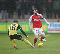 Fleetwood Town's James Husband in action with Scunthorpe Utd's George Thomas<br /> <br /> Photographer Mick Walker/CameraSport<br /> <br /> The EFL Sky Bet League One - Fleetwood Town v Scunthorpe United - Saturday 26th January 2019 - Highbury Stadium - Fleetwood<br /> <br /> World Copyright © 2019 CameraSport. All rights reserved. 43 Linden Ave. Countesthorpe. Leicester. England. LE8 5PG - Tel: +44 (0) 116 277 4147 - admin@camerasport.com - www.camerasport.com