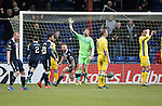 Ross County v St Johnstone&hellip;18.02.17     SPFL    Global Energy Stadium, Dingwall<br />Craig Curran wheels away after scoring for Ross County<br />Picture by Graeme Hart.<br />Copyright Perthshire Picture Agency<br />Tel: 01738 623350  Mobile: 07990 594431