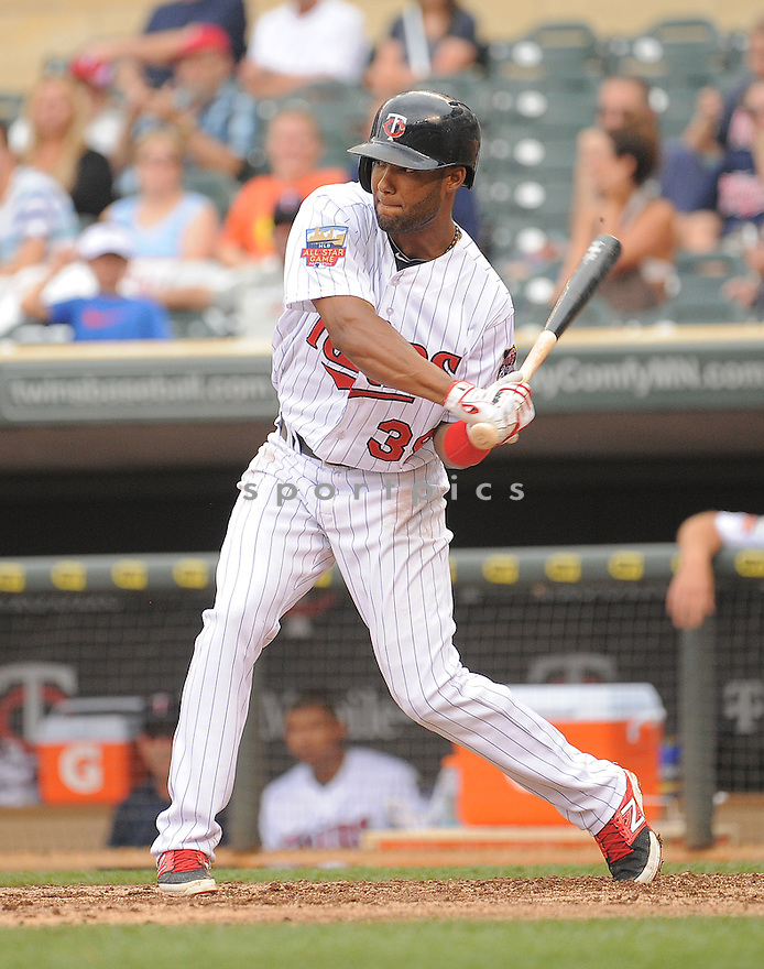 Minnesota Twins Danny Santana (39) during a game against the Kansas City Royals on August 17, 2014 at Target Field in Minneapolis, MN. The Royals beat the Twins 12-6.