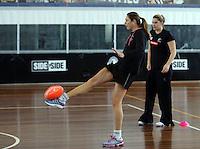06.10.2013 Silver Fern Irene Van Dyk in action during the Silver Ferns training in Melbourne, Australia. Mandatory Photo Credit ©Michael Bradley.