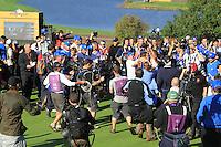Graeme McDowell sinks the winning putt to win the ryder cup 14.5 to 13.5 on the 17th at the 2010 Ryder Cup at the Celtic Manor twenty ten course, Newport Wales, 4/10/2010.Picture Fran Caffrey/www.golffile.ie.