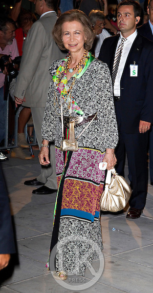 Queen Sofia of Spain attends a Cocktail Party at The Poseidonion Hotel, in Spetses, Greece, on the eve of the Wedding of Prince Nikolaos of Greece to Tatiana Blatnik.
