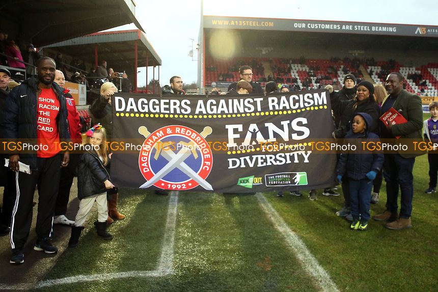 Daggers against Racism during Dagenham & Redbridge vs Solihull Moors, Vanarama National League Football at the Chigwell Construction Stadium on 27th January 2018