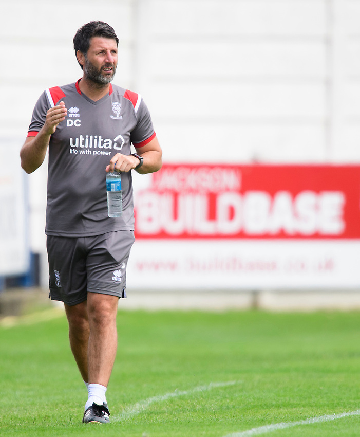 Lincoln City manager Danny Cowley shouts instructions to his team from the technical area<br /> <br /> Photographer Chris Vaughan/CameraSport<br /> <br /> Football Pre-Season Friendly (Community Festival of Lincolnshire) - Lincoln City v Lincoln United - Saturday 6th July 2019 - The Martin & Co Arena - Gainsborough<br /> <br /> World Copyright © 2018 CameraSport. All rights reserved. 43 Linden Ave. Countesthorpe. Leicester. England. LE8 5PG - Tel: +44 (0) 116 277 4147 - admin@camerasport.com - www.camerasport.com