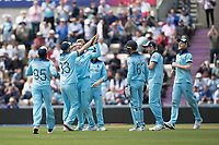 Mark Wood (England) congratulates Joe Root (England) on the wicket of Shimron Hetmyer (West Indies) during England vs West Indies, ICC World Cup Cricket at the Hampshire Bowl on 14th June 2019