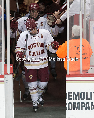 Chris Calnan (BC - 11), Austin Cangelosi (BC - 9), Mary - The visiting University of Vermont Catamounts tied the Boston College Eagles 2-2 on Saturday, February 18, 2017, Boston College's senior night at Kelley Rink in Conte Forum in Chestnut Hill, Massachusetts.Vermont and BC tied 2-2 on Saturday, February 18, 2017, Boston College's senior night at Kelley Rink in Conte Forum in Chestnut Hill, Massachusetts.