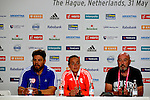 The Hague, Netherlands, June 07: (L-R) Head coach Max Caldas of The Netherlands and Maartje Paumen #17 of The Netherlands during the press conference after the field hockey group match (Group A) between Australia and The Netherlands on June 7, 2014 during the World Cup 2014 at Kyocera Stadium in The Hague, Netherlands. Final score 0-0 (0-2) (Photo by Dirk Markgraf / www.265-images.com) *** Local caption ***