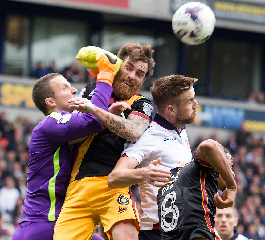 Bolton Wanderers' Mark Beevers battles for the ball<br /> <br /> Photographer James Williamson/CameraSport<br /> <br /> The EFL Sky Bet League One - Saturday 24th September 2016 - Bolton Wanderers v Bradford City - Macron Stadium - Bolton<br /> <br /> World Copyright &copy; 2016 CameraSport. All rights reserved. 43 Linden Ave. Countesthorpe. Leicester. England. LE8 5PG - Tel: +44 (0) 116 277 4147 - admin@camerasport.com - www.camerasport.com