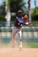 GCL Twins shortstop Gorge Munoz (2) throws to first during a game against the GCL Orioles on August 11, 2016 at the Ed Smith Stadium in Sarasota, Florida.  GCL Twins defeated GCL Orioles 4-3.  (Mike Janes/Four Seam Images)