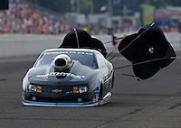 Aug 16, 2014; Brainerd, MN, USA; NHRA pro stock driver Chris McGaha during qualifying for the Lucas Oil Nationals at Brainerd International Raceway. Mandatory Credit: Mark J. Rebilas-