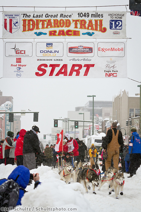 Hank Debruin leaves the 2011 Iditarod ceremonial start line in downtown Anchorage, during the 2012 Iditarod..Jim R. Kohl/Iditarodphotos.com