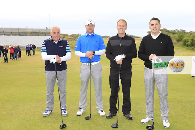 Marc WARREN (SCO) with Russell Borrie, John D'Arcy and Brian Beggs on the 1st tee during the Pro-Am of the 2015 Dubai Duty Free Irish Open, Royal County Down Golf Club, Newcastle Co Down, Northern Ireland. 27/05/2015 <br /> Picture Eoin Clarke, www.golffile.ie