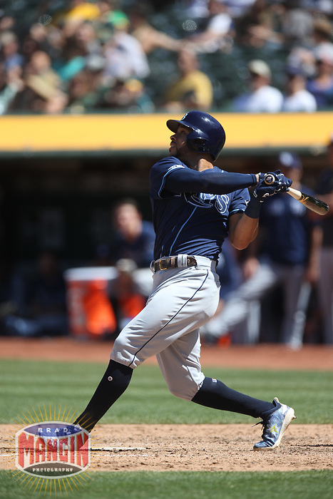 OAKLAND, CA - JUNE 22:  Tommy Pham #29 of the Tampa Bay Rays bats against the Oakland Athletics during the game at the Oakland Coliseum on Saturday, June 22, 2019 in Oakland, California. (Photo by Brad Mangin)