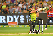 10th February 2018, Melbourne Cricket Ground, Melbourne, Australia; International Twenty20 Cricket, Australia versus England; Chris Lynn of Australia in batting action  down the ground