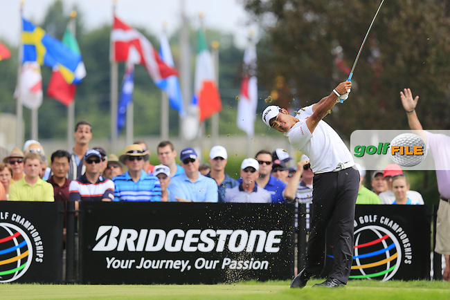 Hideki Matsuyama (JPN) tees off the 17th tee during Thursday's Round 1 of the 2013 Bridgestone Invitational WGC tournament held at the Firestone Country Club, Akron, Ohio. 1st August 2013.<br /> Picture: Eoin Clarke www.golffile.ie