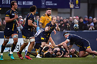 25th January 2020; Sixways Stadium, Worcester, Worcestershire, England; Premiership Rugby, Worcester Warriors versus Wasps; Michael Heaney of Worcester Warriors passes the ball