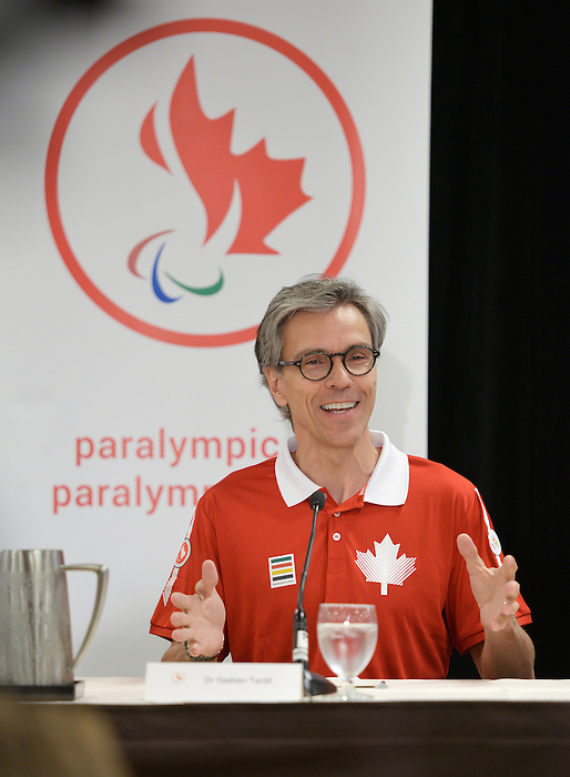 Toronto, ON - Aug 5 2015 - Canadian Paralympic Committee President Gaetan Tardiff during the opening ceremonies flag bearer annoucement  (Photo: Matthew Murnaghan/Canadian Paralympic Committee)