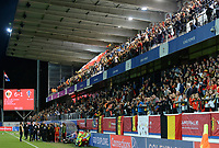 20190903 - LEUVEN , BELGIUM : Belgian fans and supporters pictured celebrating the 6-1 win during the female soccer game between the Belgian Red Flames and Croatia , the first womensoccer game for Belgium in the qualification for the European Championship round in group H for England 2021, Tuesday 3 th September 2019 at the King Power Stadion Den Dreef in Leuven , Belgium. PHOTO SPORTPIX.BE | DAVID CATRY