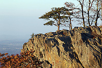 Raven's Roost overlook outcrop of rock where climbers climb on the Blue Ridge Parkway in Nelson County, VA.  Photo/Andrew Shurtleff