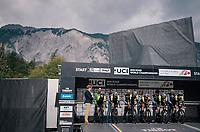 Team Mitchelton-Scott on the start podium<br /> <br /> UCI WOMEN'S TEAM TIME TRIAL<br /> Ötztal to Innsbruck: 54.5 km<br /> <br /> UCI 2018 Road World Championships<br /> Innsbruck - Tirol / Austria