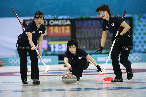 (L-R) Chinami Yoshida, <br /> Yumie Funayama, <br /> Kaho Onodera (JPN), <br /> FEBRUARY 13, 2014 - Curling : Women's Curling Round Robin match between USA - Japan at &quot;ICE CUBE&quot; Curling Center during the Sochi 2014 Olympic Winter Games in Sochi, Russia.  <br /> (Photo by Koji Aoki/AFLO SPORT)