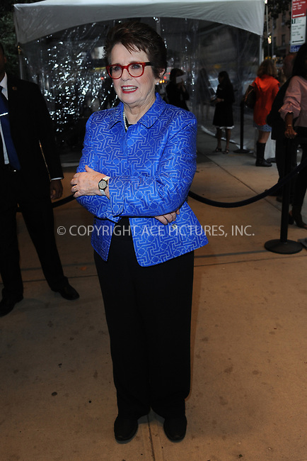 www.acepixs.com<br /> September 19, 2017  New York City<br /> <br /> Tennis player Billie Jean King arriving at the screening of 'Battle of the Sexes' on September 19, 2017 in New York City.<br /> <br /> Credit: Kristin Callahan/ACE Pictures<br /> <br /> <br /> Tel: 646 769 0430<br /> Email: info@acepixs.com
