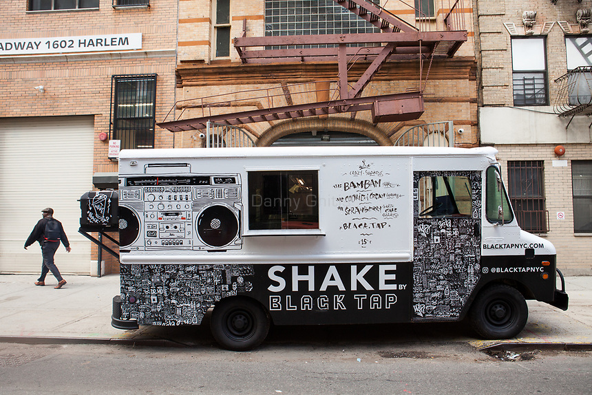 One of two renovated vintage Black Tap trucks, in front of a garage in Harlem, that will be roving the city streets this summer serving milkshakes. A third truck is in progress with plans to be stationed in the Hamptons.<br /> <br /> Danny Ghitis for The New York Times