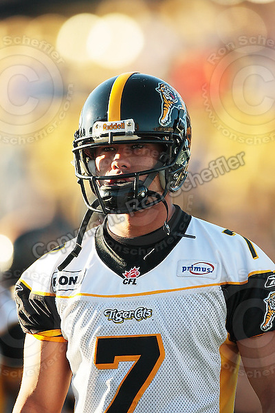 Aug 3, 2007; Hamilton, ON, CAN; Winnipeg Blue Bombers play the Hamilton Tiger-Cats at Ivor Wynne Stadium. The Tiger-Cats defeated the Blue Bombers 43-22. Mandatory Credit: Ron Scheffler. Pictured here is Hamilton Tiger-Cats quarterback (7) Timmy Chang.