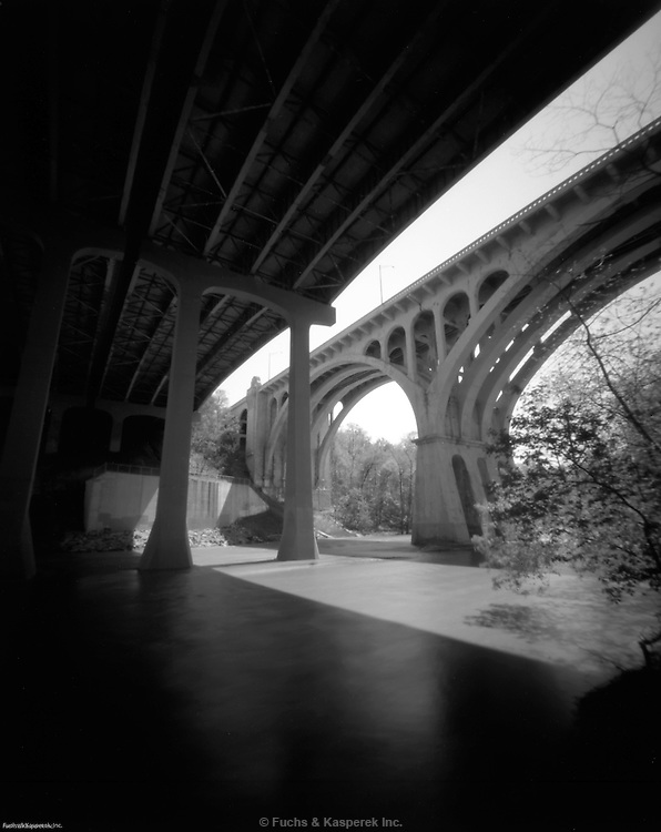 The I-90 and Hilliard Avenue bridges over the Rocky River, in the Rocky River Reservation of the Cleveland Metroparks system.