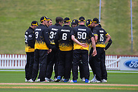 The Firebirds huddle during the Ford trophy one day cricket match between Wellington Firebirds and Auckland Aces at the Basin Reserve in Wellington, New Zealand on Sunday, 4 November 2018. Photo: Dave Lintott / lintottphoto.co.nz