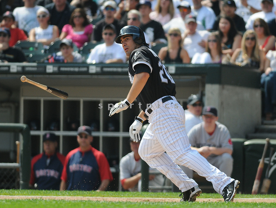 CARLOS QUENTIN, of the Chicago White Sox, in action during the White Sox game against the Boston Red Sox on September 7, 2009 in Chicago, IL. The White Sox beat the Red Sox 5-1...