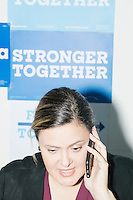 Carolyn Zegeer, 38, of Miami, is an attorney volunteering witht the Voter Protection phonebanking team at the campaign office of Democratic presidential nominee Hillary Clinton in the Wynwood Arts District of Miami, Florida. The team is working to recruit volunteers to watch the polls on election day.