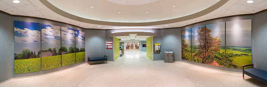 Five photographs by Michael Knapstein were selected to decorate the main lobby of the University of Wisconsin Hospital in Madison, Wisconsin. The largest photographs are 10 feet high by 16 feet wide.