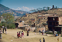 Nepalese people going about daily life, Nepal.