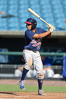 Outfielder Raphael Ramirez (2) of Pace Academy in Atlanta, Georgia playing for the Atlanta Braves scout team during the East Coast Pro Showcase on August 2, 2013 at NBT Bank Stadium in Syracuse, New York.  (Mike Janes/Four Seam Images)