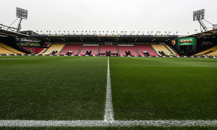 A general view of the Vicarage Road stadium<br /> <br /> Photographer Andrew Kearns/CameraSport<br /> <br /> The Premier League - Watford v Burnley - Saturday 19 January 2019 - Vicarage Road - Watford<br /> <br /> World Copyright &copy; 2019 CameraSport. All rights reserved. 43 Linden Ave. Countesthorpe. Leicester. England. LE8 5PG - Tel: +44 (0) 116 277 4147 - admin@camerasport.com - www.camerasport.com