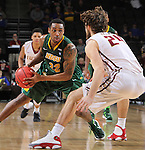 SIOUX FALLS, SD - MARCH 6:  Kory Brown #22 of North Dakota State stares down defender Evan Hall #24 of IUPUI in the quarterfinals of the 2016 Summit League Tournament. (Photo by Dick Carlson/Inertia)